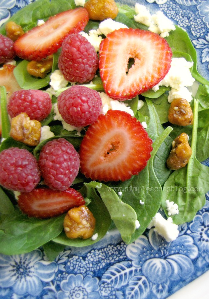 Strawberry and spinach salad as a healthy spring side dish.