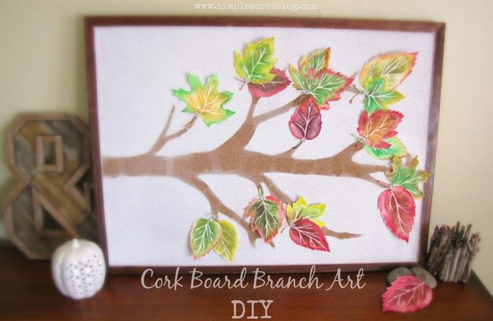 Cork Board with Branch Art DIY