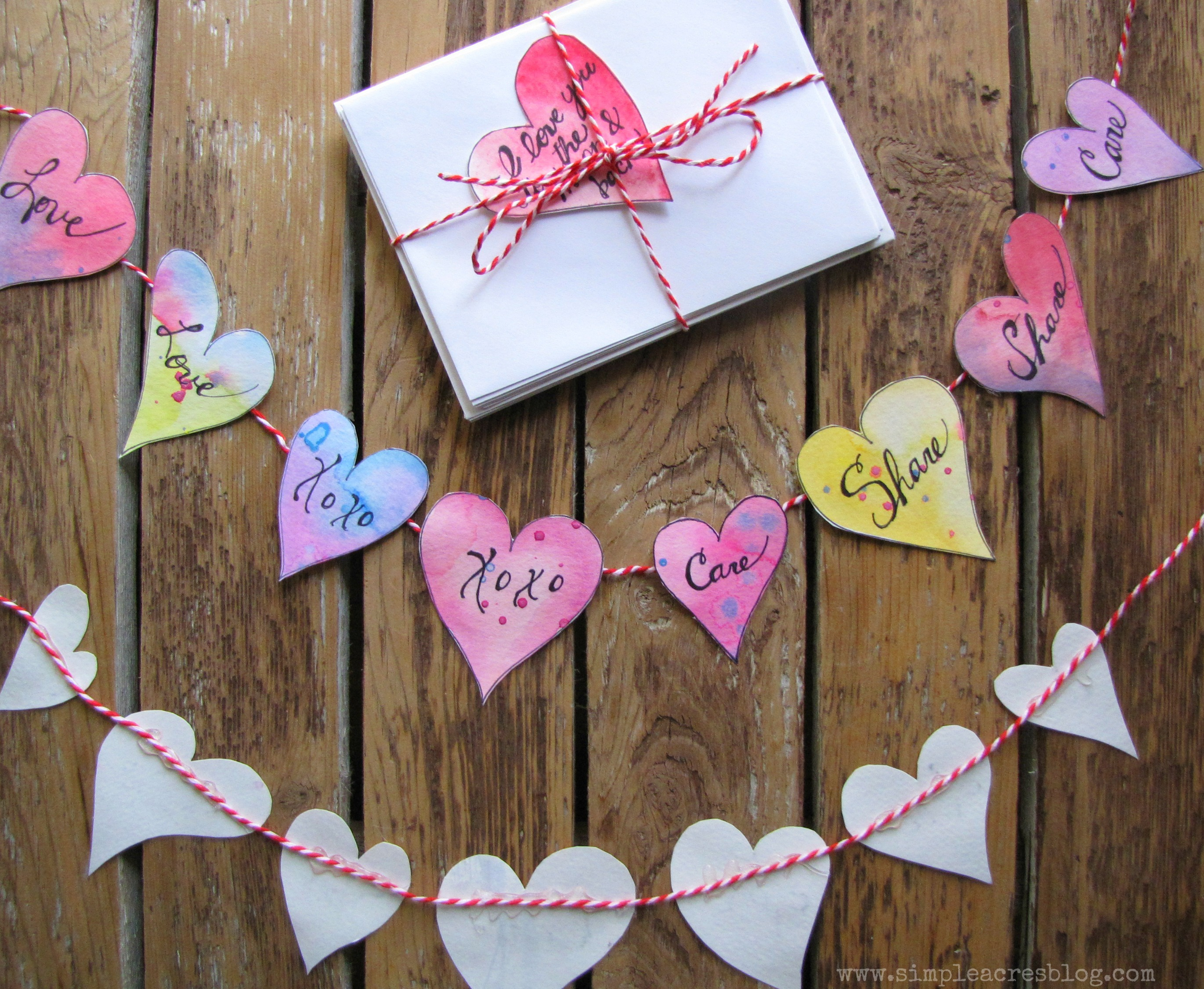 Handmade valentines to unite family.