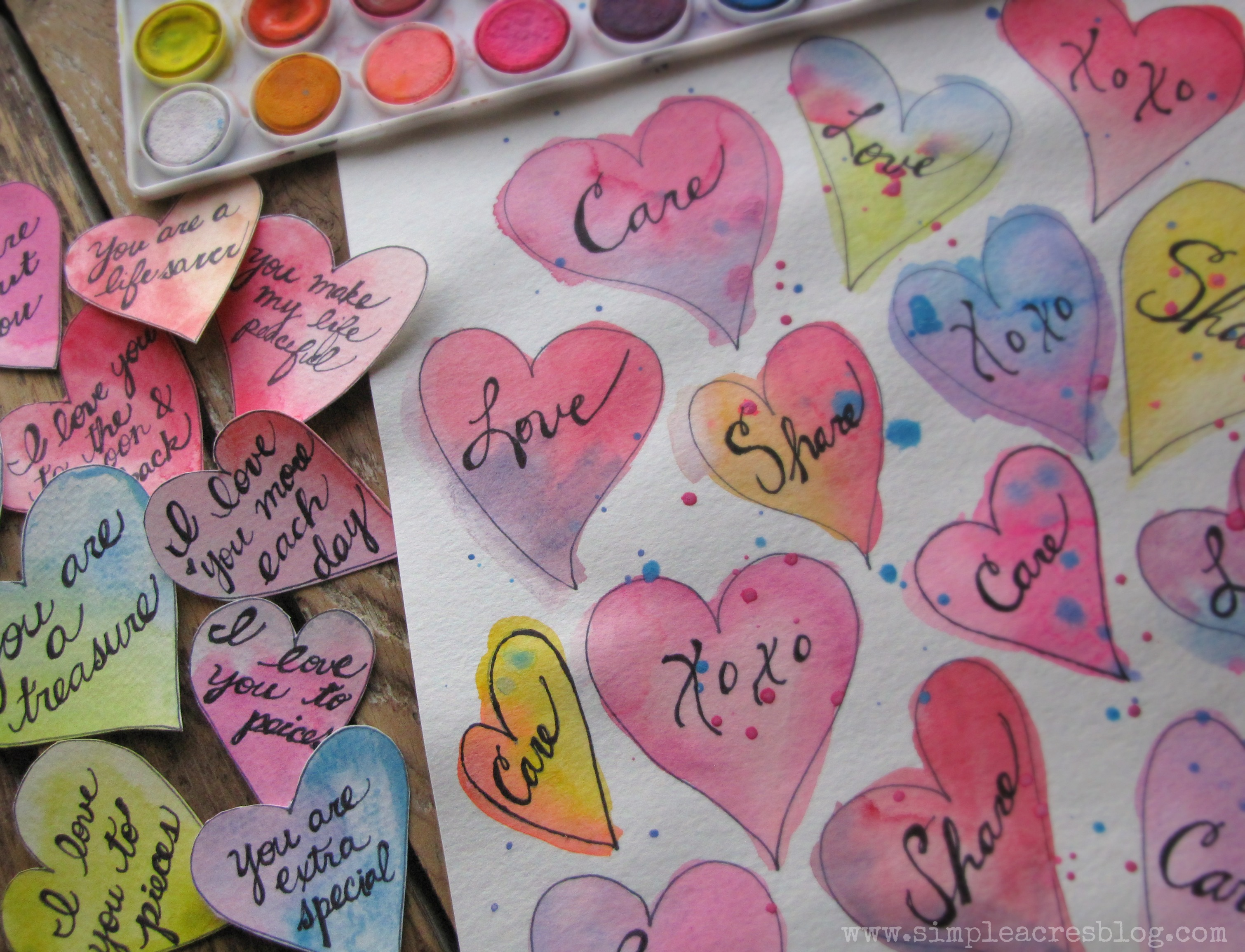 Homemade watercolor valentines