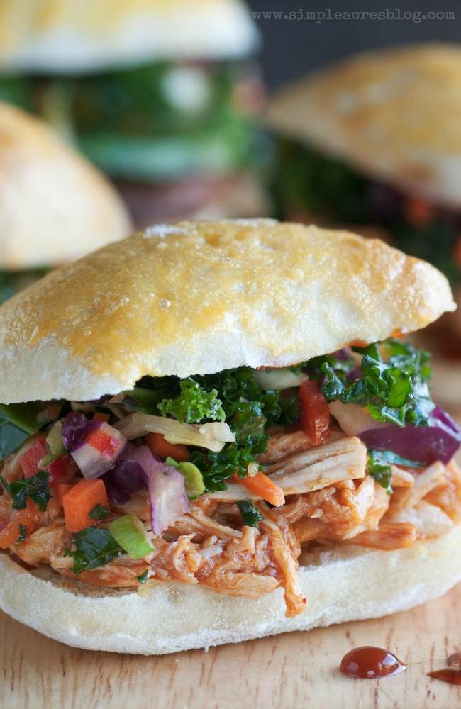 A pulled bbq chicken sandwich family favorite.