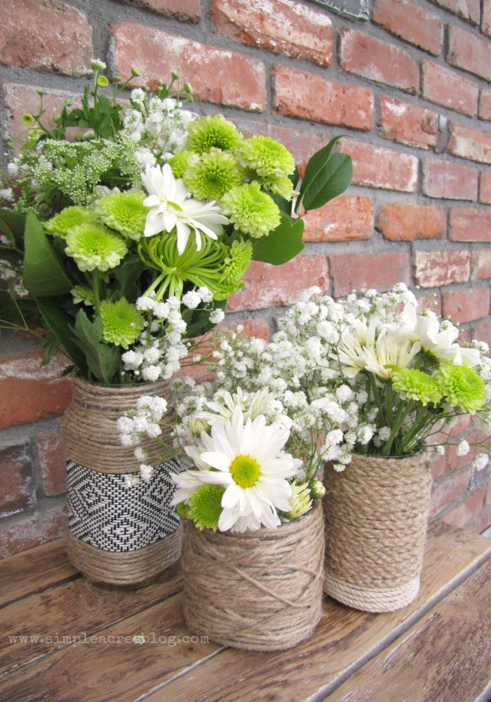 upcycled vases with jars