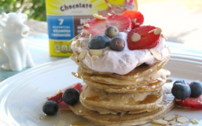 Chocolate Blueberry Pancakes with Blackberry Whipped Cream