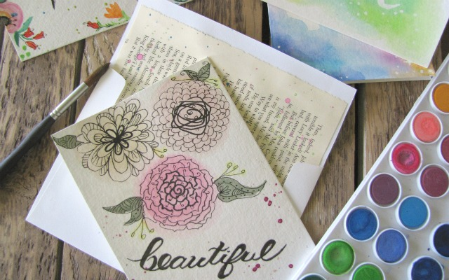 Up-cycled Watercolor Gift Cards