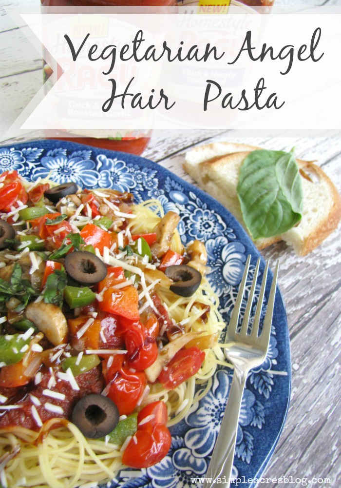 angel hair pasta with vegetables ragu