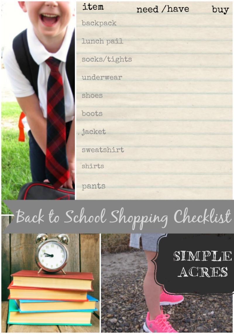 back to school shopping checklist simplify
