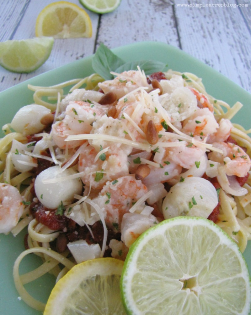 Lemon & Lime Garlic Parmesan Shrimp with Linguine - Simple ...