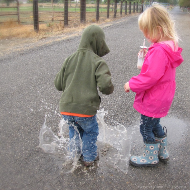 jumping in water puddles and hot chocolate