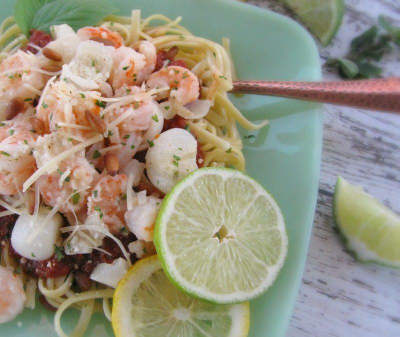 Lemon & Lime Garlic Parmesan Shrimp with Linguine