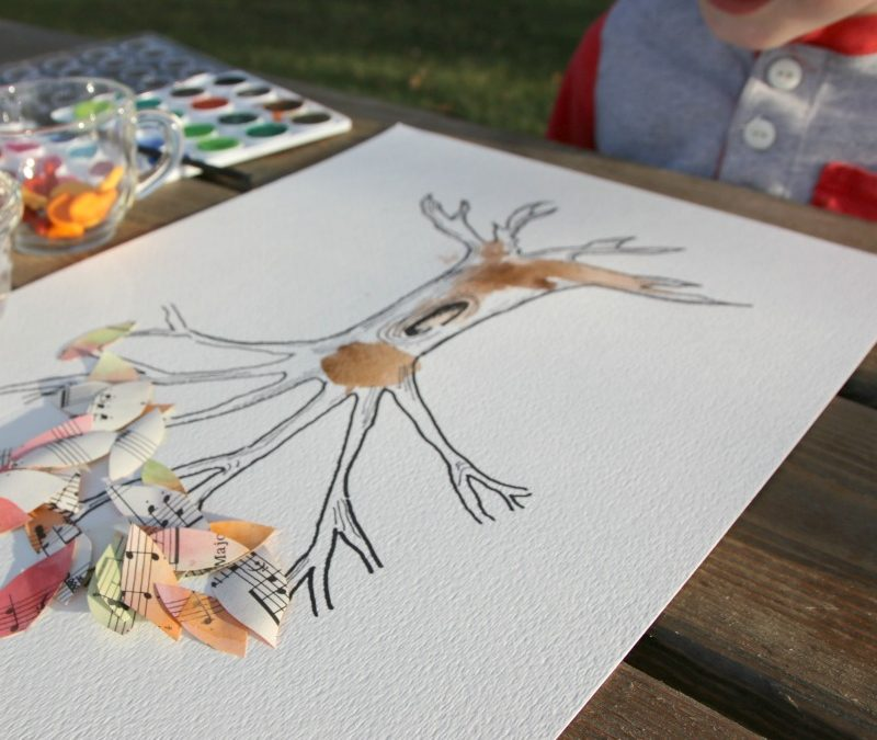 Up-cycled Watercolor Fall Tree Art