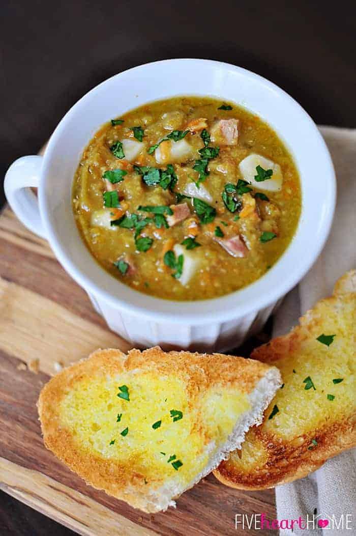 split pea soup, winter soup, garlic bread